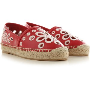 RED Valentino Women Ballet Flats Red Leather, Fabric Deals XYARR4668