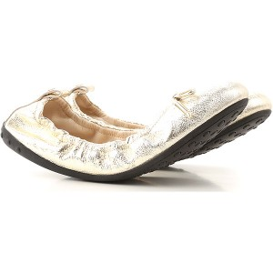 Tod's Women Ballet Flats Pale Gold Leather shopping VBSGB1746