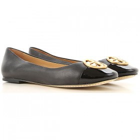 Tory Burch Women Ballet Flats Black Leather, Patent Leather Fitted BWEWT6060
