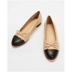 Women Angelina Leather Ballet Flats Atmos&Here Beige & Black Leather Comfort CMUTPPV