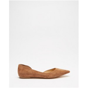 Women's Kasey Leather d'Orsay Flats Atmos&Here Mocha Suede Cut Off VSFEEYM