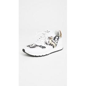 Voile Blanche Young Ladies Julia Exclusive Sneakers White Black Flowers Clearance FPZA757