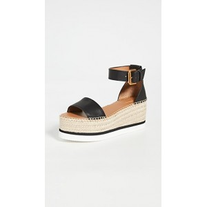 See by Chloe Young Ladies Glyn Platform Espadrilles Nero on clearance JVAI673