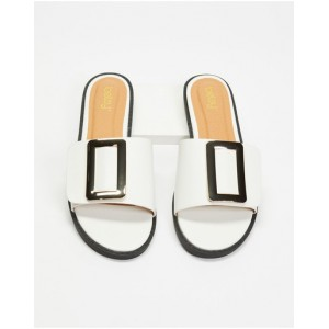 Women's Buckle Slides Betsy White high quality EUAJEUI