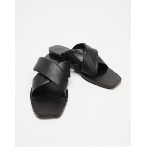 Women's Crossover Leather Slides AERE Black Leather for sale near me XPDSQGY