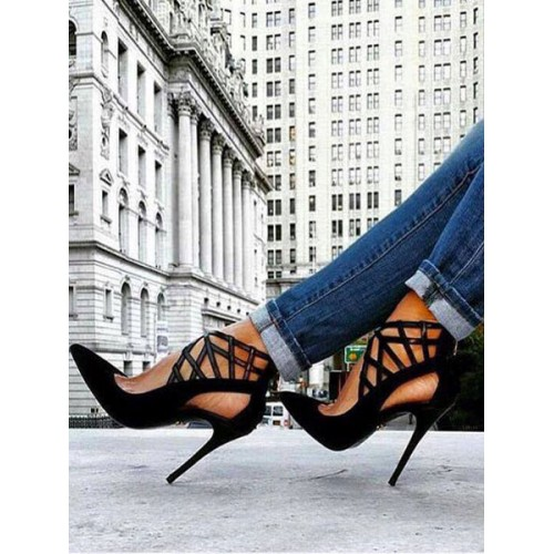 Black Chic High Heels Strappy Pointed Toe Stiletto Heel Pumps Ships Free #23600730010