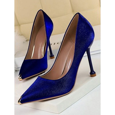 Blue High Heels Satin Pointed Toe Evening Shoes Stiletto Heel Pumps online shopping #23600852446