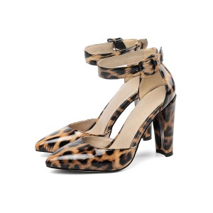 Leopard Print High Heels Ankle Strap Pointed Toe Chunky Heel Pumps boutique #23600901670