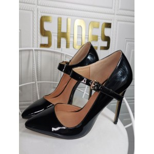 Plus Size High Heels For Women Pointed Toe Stiletto Heel Fashion Black Mary Jane Heels 2021 Trends #23600939162