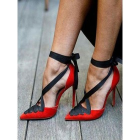 Red Sexy High Heels Pointed Toe Lace Up Pumps for Women #23600803218