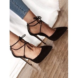 Suede High Heels Women Pointed Toe Lace Up Stiletto Heel Pumps Clearance Sale #23600831412