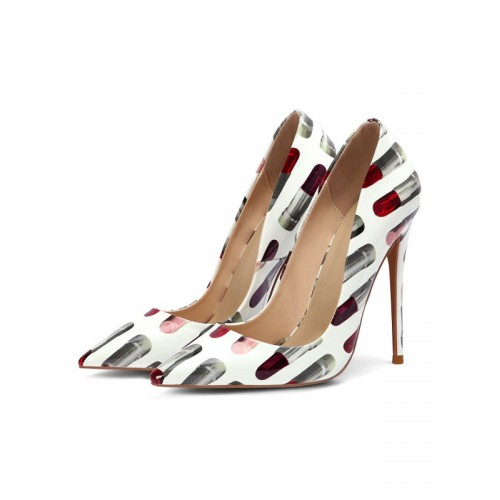 Woman's High Heels White Pointed Toe Stiletto Heel Fashion Pumps on sale online #23600885520