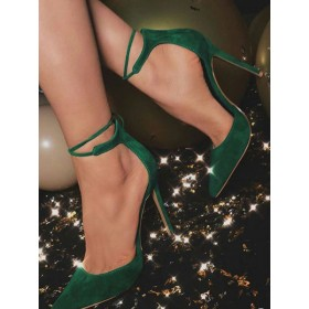 Women High Heels Suede Dark Green Pointed Toe Ankle Strap Pumps comfortable #23600826948