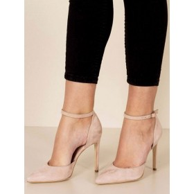 Women High Heels Suede Pointed Toe Ankle Strap Stiletto Heel Pumps in Apricot most comfortable #23600831402