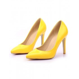 Yellow High Heels Pointed Toe Stiletto Heel Pumps for Women Fashion #23600660447