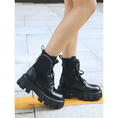 Ankle Boots Black Leather Round Toe Wedge Heel 2.4