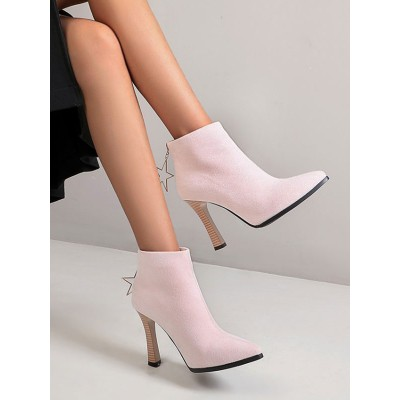 Ankle Boots Pink Micro Suede Upper Pointed Toe Chunky Heel Booties For Women Discount #10690922664