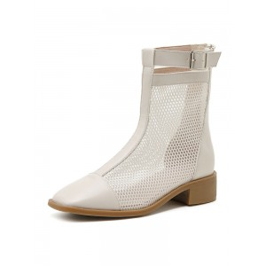 Apricot Summer Boots Square Toe Buckle Artwork Mesh PU Leather Booties business casual #96070951202