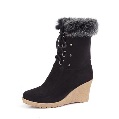 Black Ankle Boots Suede Round Toe Fur Detail Lace Up Winter Boots Women Wedge Booties Shop #10690813730