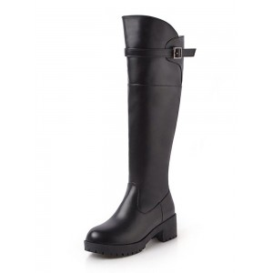 Black Knee High Boots Womens Solid Color Round Toe Puppy Heel Casual Boots #10710879400
