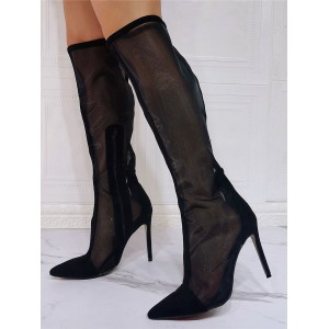 Black Summer Boots Pointed Toe Sky High Stiletto Heel Mesh Micro Suede Knee High Boots on style #96070949252