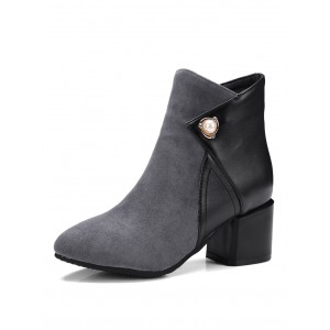 Grey Ankle Boots Pointed Toe Chunky Heel Two Tone Suede Pearls Winter Booties For Women Recommendations #10690729260