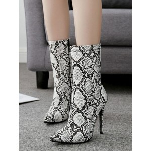 Grey Ankle Boots Women Pointed Toe Snake Pattern High Heel Booties Sale #10690809018