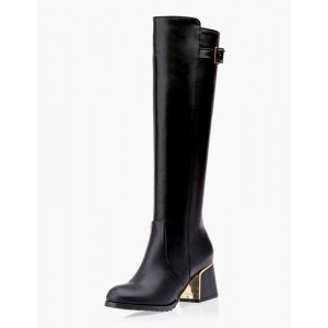 Knee High Boots Womens Leather Buckled Round Toe Block Heel Winter Boots #10710541405