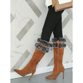 Knee High Boots Womens Micro Suede Faux Fur Pointed Toe Stiletto Heel Winter Boots Fashion #10710813776