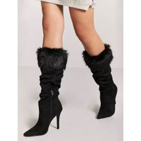 Mid Calf Boots Black Pointed Toe Faux Leather Detail High Heel Boots Sale #10700916648