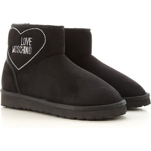 Moschino Women Boots Black Suede Leather KBJWN2346