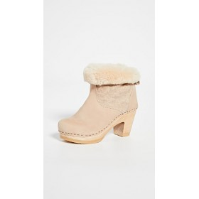 No.6 Women's Pull On Shearling High Heel Boots Parchment For Sale TUTJ700