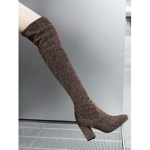 Over The Knee Boots Coffee Brown Round Toe Sequined Cloth Winter Boots For Women spring 2021 #10720918022