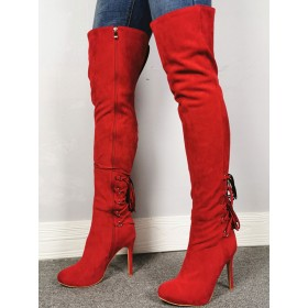 Over The Knee Boots Red Pointed Toe Zipper High Heel Thigh High Boots The Top Selling #10720914762