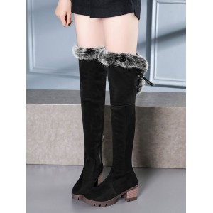 Over The Knee Boots Womens Micro Suede Faux Fur Round Toe Chunky Heel Thigh High Boots At Target #10720739508