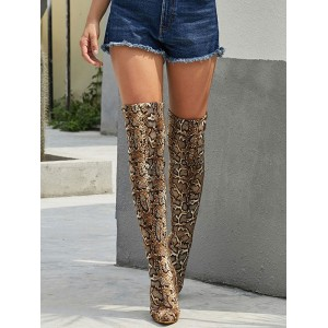 Over The Knee Boots Womens Micro Suede Snake Print Pointed Toe Stiletto Heel Winter Boots Ships Free #10720871738