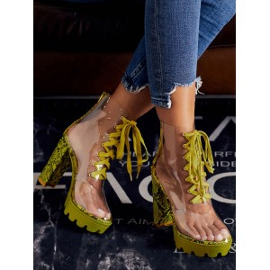 Perspex Boots Clear Heels Lace Up Chunky Heel Round Toe Booties For Women Lowest Price #96070900010