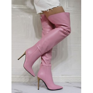 Pink Over The Knee Boots For Women PU Leather Pointed Toe Sky High Sexy Boots #10720940624