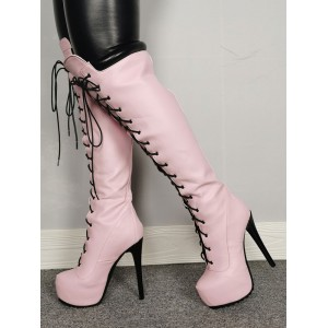 Platform Knee High Boots Womens Light Pink Lace Up Round Toe Stiletto Heel Boots #10710895384