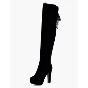 Platform Thigh High Boots Womens Micro Suede Round Toe Chunky Heel Over The Knee Boots Express #10720558137