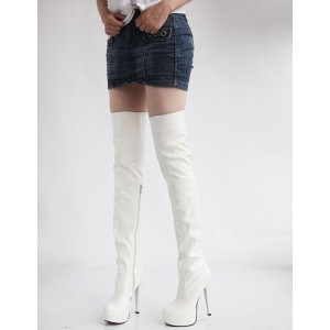 Platform Thigh High Boots Womens Patent Round Toe Stiletto Heel Over The Knee Boots shopping #10720555943