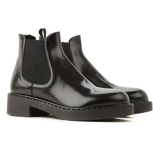 Prada Women Boots Black Patent Leather Fitted ZXJNK3057