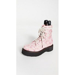 R13 Women's Single Stack Lace Up Boots Pink Floral JPUX338