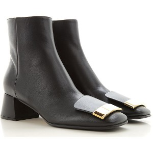Sergio Rossi Women Boots Black Leather sale online KCUHJ6056