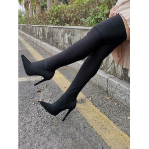 Thigh High Boots Womens Black Elastic Fabric Pointed Toe Stiletto Heel Over The Knee Boots for sale near me #10720894716