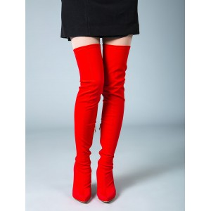 Thigh High Boots Womens Elastic Fabric Pointed Toe Stiletto Heel Over The Knee Boots Fashion #10720751324