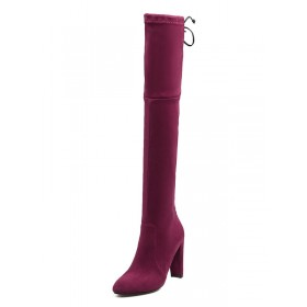 Thigh High Boots Womens Micro Suede Lace Up Round Toe Chunky Heel Over The Knee Boots on style #10720727630