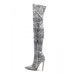 Thigh High Boots Womens Polyster Zebra Print Pointed Toe Stiletto Heel Over The Knee Boots #10720885540