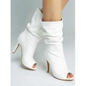 White Ankle Boots Peep Toe High Heel Sandal Booties US 5.5-12.5 Fit #96070810170