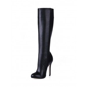Wide Calf High Knee Boots 2021 Women Black High Heel Round Toe Leather Winter Boots #10710148076